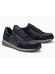 Dark Blue Textile/Leather Lining Handmade Sneaker | Mephisto Causal Shoes | Sam's Tailoring Fine Men Clothing
