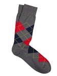 Asphalt/Red Pima Cotton Argyle Sock | Marcoliani Socks Collection | Sam's Tailoring Fine Men's Clothing