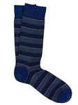 Royal Blue Pima Cotton Pique Club Stripe Sock | Marcoliani Socks Collection | Sam's Tailoring Fine Men's Clothing