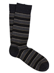 Charcoal Pima Cotton Pique Club Stripe Sock | Marcoliani Socks Collection | Sam's Tailoring Fine Men's Clothing