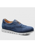 Stonewashed Blue Suede With Light Grey Sole Women Shoe | Samuel Hubbard Women Shoes | Sam's Tailoring Fine Men Clothing