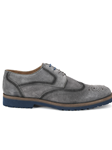 Gray Cardiff II Calf Suede Wing Tip Men Shoe | Belvedere Shoes Collection | Sam's Tailoring Fine Mens Clothing
