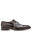 Chocolate Batta Ostrich Cap-Toed Derby Dress Shoe | Belvedere Shoes Collection | Sam's Tailoring Fine Mens Clothing