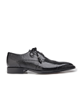 Black Karmelo Lizard Cap-Toed Derby Shoe | Belvedere Shoes Collection | Sam's Tailoring Fine Mens Clothing