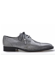 Grey  Karmelo Lizard Cap-Toed Derby Shoe | Belvedere Shoes Collection | Sam's Tailoring Fine Mens Clothing