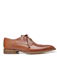 Tan Karmelo Lizard Cap-Toed Derby Shoe | Belvedere Shoes Collection | Sam's Tailoring Fine Mens Clothing