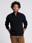 Black Wool Cashmere Quaterzip Sweater  | Naadam Quarter Zip | Sam's Tailoring Fine Men's Clothing