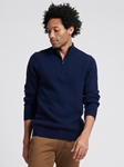 Navy Wool Cashmere Quarterzip Sweater | Naadam Quarter Zip | Sam's Tailoring Fine Men's Clothing