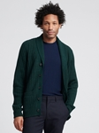 Forest Green Wool Cashmere Shawl Cardigan | Naadam Shawl Cardigan | Sam's Tailoring Fine Men's Clothing