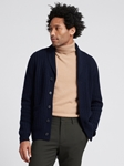 Navy Wool Cashmere Men's Shawl Cardigan | Naadam Shawl Cardigan | Sam's Tailoring Fine Men's Clothing