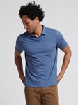 Slate Blue Clipper Cotton Cashmere Polo | Naadam Men Henleys & Tees | Sam's Tailoring Fine Men's Clothing
