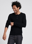 Black Silk Cashmere Lightweight Henley | Naadam Men Henleys & Tees | Sam's Tailoring Fine Men's Clothing