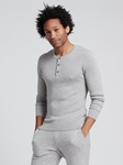 Cement Silk Cashmere Lightweight Henley | Naadam Men Henleys & Tees | Sam's Tailoring Fine Men's Clothing