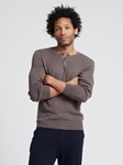 Heather Brown Silk Cashmere Lightweight Henley | Naadam Men Henleys & Tees | Sam's Tailoring Fine Men's Clothing
