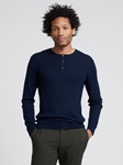 Navy Silk Cashmere Lightweight Henley | Naadam Men Henleys & Tees | Sam's Tailoring Fine Men's Clothing
