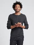 Smoke Silk Cashmere Lightweight Henley | Naadam Men Henleys & Tees | Sam's Tailoring Fine Men's Clothing