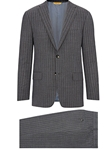 Grey Doublestripe Super 150's Tasmanian Travel Suit | Hickey Freeman Suit Collection | Sam's Tailoring Fine Men Clothing
