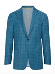 Teal Plaid Rain System B-Fit Men's Jacket | Hickey Freeman Sportcoats Collection | Sam's Tailoring Fine Men Clothing