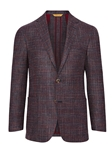 Burgundy Check Patch Pockets Weightless Jacket | Hickey Freeman Sportcoats Collection | Sam's Tailoring Fine Men Clothing