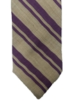 Tan With Purple Stripes Executive Wool Estate Tie | Estate Ties Collection | Sam's Tailoring Fine Men's Clothing