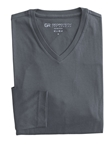 Grey Pima Cotton V-Neck Long Sleeve Mens Tshirt | Georg Roth t Shirts | Sams Tailoring Fine Mens Clothing