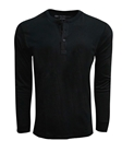 Black Pima Cotton Long Sleeves Mens Henley | Georg Roth t Shirts | Sams Tailoring Fine Mens Clothing