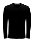 Black Pima Cotton V-Neck Long Sleeve Mens t Shirt | Georg Roth t Shirts | Sams Tailoring Fine Mens Clothing