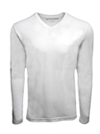 White Pima Cotton V-Neck Long Sleeve Mens t Shirt | Georg Roth t Shirts | Sams Tailoring Fine Mens Clothing