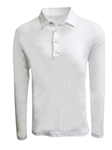 White Luxe Pima Long Sleeve Men's Polo | Georg Roth Men Polos | Sam's Tailoring Fine Men Clothing