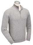 Black Wool Silk Jacquard Quarter Zip Sweater | Bobby Jones Sweaters Collection | Sams Tailoring Fine Men's Clothing