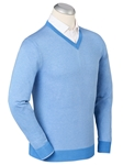 Sky Blue Luxe Cotton Hairline Stripe V-Neck Sweater | Bobby Jones Sweaters Collection | Sams Tailoring Fine Men's Clothing