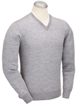 Heather Grey Fine Guage Merino V-Neck Sweater | Bobby Jones Sweaters Collection | Sams Tailoring Fine Men's Clothing