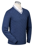 Navy Trellis Cricket Cotton Cashmere V-Neck Sweater | Bobby Jones Sweaters Collection | Sams Tailoring Fine Men's Clothing