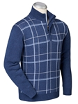 Navy Cotton Cashmere Plaid Front Quarter Zip Sweater | Bobby Jones Sweaters Collection | Sams Tailoring Fine Men's Clothing