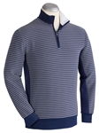 Navy XH2O Ottoman Stripe Quarter Zip Pullover | Bobby Jones Sweaters Collection | Sams Tailoring Fine Men's Clothing