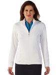 White Tech Solid Full Zip Women's Knit Jacket | Bobby Jones Women's Pullovers | Sam's Tailoring Fine Women's Clothing