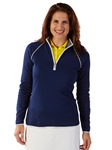 Summer Navy Pima Cotton Solid Quarter Zip Women Pullover | Bobby Jones Women's Pullovers | Sam's Tailoring Fine Women's Clothing