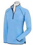 Sky Blue Pima Cotton Solid Quarter Zip Women Pullover | Bobby Jones Women's Pullovers | Sam's Tailoring Fine Women's Clothing