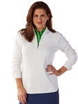 White Pima Cotton Solid Quarter Zip Women's Pullover | Bobby Jones Women's Pullovers | Sam's Tailoring Fine Women's Clothing