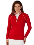 Cambridge Red Pima Cotton Solid Quarter Zip Women Pullover | Bobby Jones Women's Pullovers | Sam's Tailoring Fine Women's Clothing