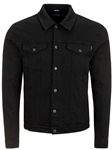 Black Stylish Shirt Collar Men's Trucker Jacket | Stone Rose Jackets Collection | Sams Tailoring Fine Men Clothing