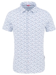 Light Blue Geometric Performance Knit Short Sleeve Shirt | Stone Rose Shirts Collection | Sams Tailoring Fine Men Clothing