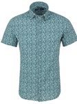 Turquoise Geometric Print Men's Short Sleeve Shirt | Stone Rose Shirts Collection | Sams Tailoring Fine Men Clothing