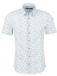 White Leaf Print Stretchable Short Sleeve Shirt | Stone Rose Shirts Collection | Sams Tailoring Fine Men Clothing