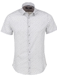 White Novelty Print Cotton Fabric Short Sleeve Shirt | Stone Rose Shirts Collection | Sams Tailoring Fine Men Clothing