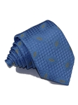 Blue With Blue Leaf Decoration Woven Silk Tie | Italo Ferretti Ties | Sam's Tailoring Fine Men's Clothing
