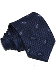 Navy With Sky Leaf Decoration Woven Silk Tie | Italo Ferretti Ties | Sam's Tailoring Fine Men's Clothing