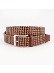 Cognac/Natural Italian Leather & Cotton Woven Belt | Torino Leather Belts | Sam's Tailoring Fine Men Clothing