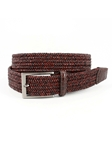 Brown Italian Twist Woven Leather & Cotton With Caiman Tabs Belt | Torino Leather Belts | Sam's Tailoring Fine Men Clothing