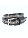 Black/Grey Two-Tone South American Caiman Belt | Torino Leather Belts | Sam's Tailoring Fine Men Clothing